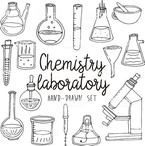 hand drawn set  chemistry laboratory equipments stock