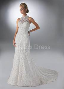 vintage sheath column high neck chapel train lace tulle With high neck lace wedding dress