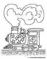 Coloring Train Steam Engine Pages Trains Colormountain Mountain Activity sketch template