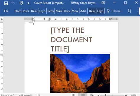 cover report template  word  cover picture
