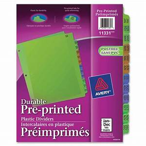 avery 11331 preprinted monthly plastic dividers 12 x With avery monthly tab dividers