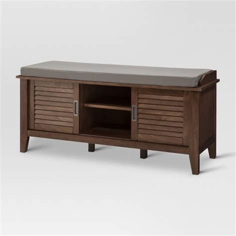 shoe bench target storage bench with slatted doors wood threshold target