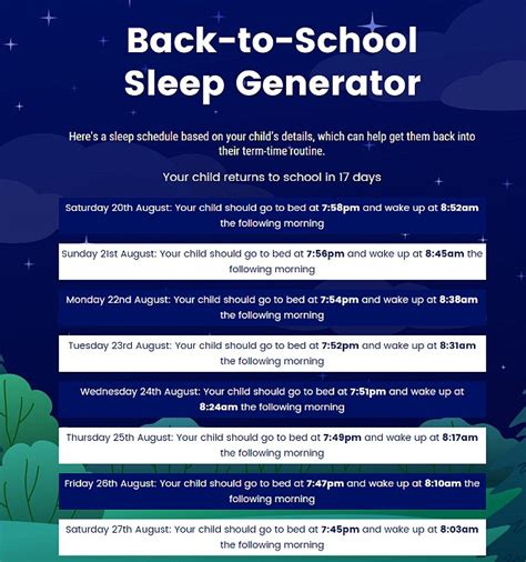 calculator creates sleeping schedule kids ready wake