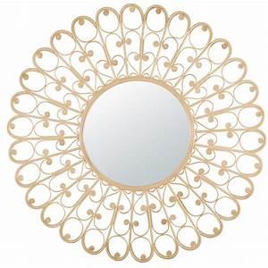 miroir rond en rotin tresse d120cm lola maisons du monde With miroir rond 120 cm