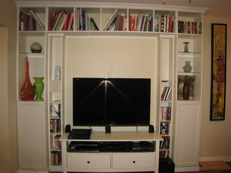ikea billy tv unit diy built in home theater from ikea bookcases