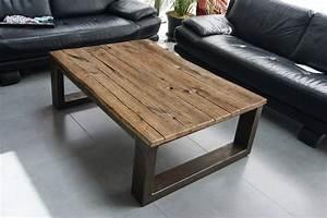Table Basse Bois Brut : table basse industriel pied acier plateau en ch ne massif ~ Melissatoandfro.com Idées de Décoration