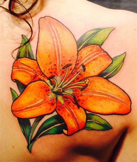 blue tiger lily tattoo   color tattoo