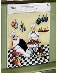 fat chef dishwasher magnet bistro kitchen door cover