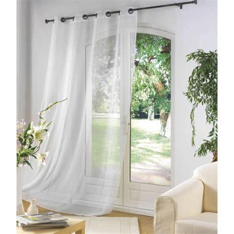 voilage oeillets 140x240cm luminea blanc achat vente rideau tissu cdiscount