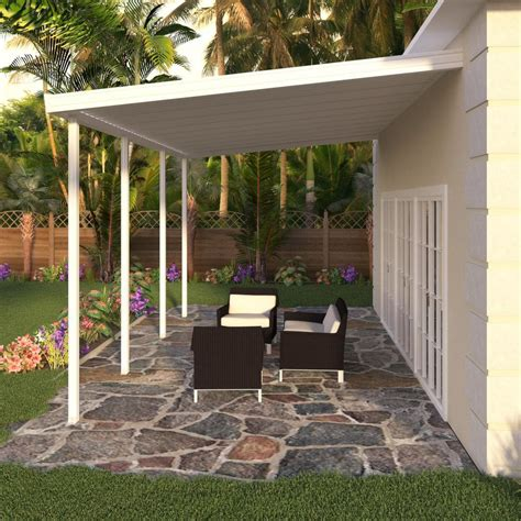 Porch Covering Options by Integra 8 Ft X 20 Ft White Aluminum Attached Solid Patio