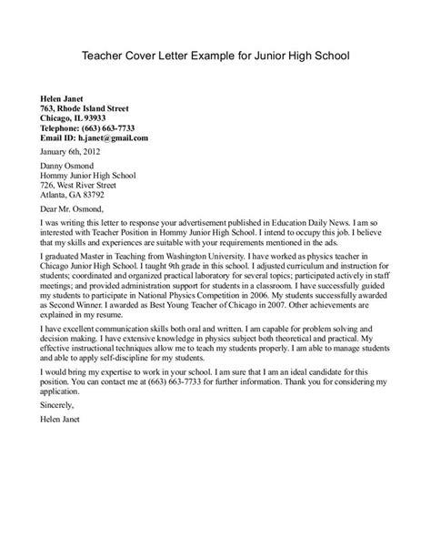 teacher cover letter examples cover letter format