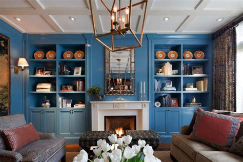 Blue Bookcases by 21 Living Room Bookshelf Designs Decorating Ideas