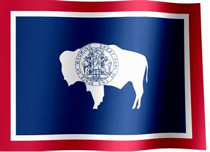 Wyoming Flag State Waving Flags Animated States