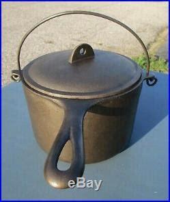 vintage griswold cast iron deep fat fryer antique small block logo  pot