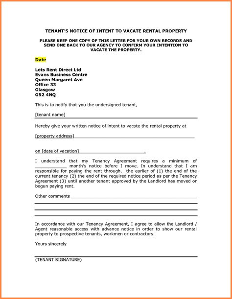 sample notice  vacate letter  tenant notice letter