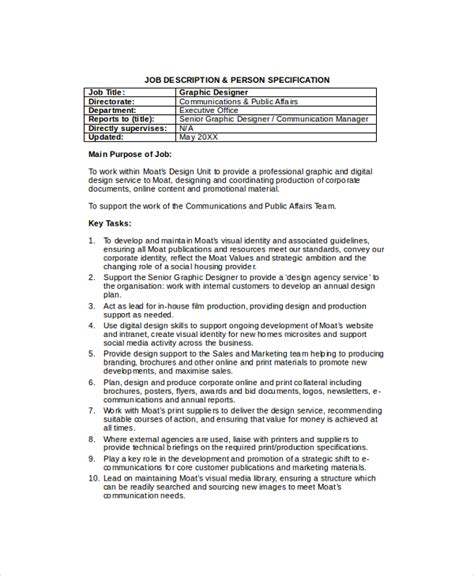 Graphic Designer Description Duties by Sle Description 19 Documents In Pdf Word