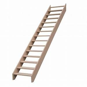 Escalier Droit Bois : escalier droit sans contremarches sans rampe escaliers ~ Premium-room.com Idées de Décoration