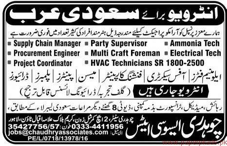 supply chain manager project coordinator hvac technicians