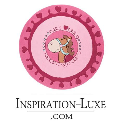 tapis de luxe pour enfant rond diametre  cm rose poney