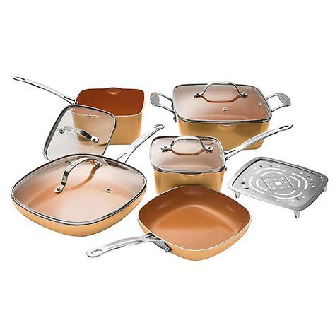 buy gotham steel nonstick  piece square copper cookware set  bed bath