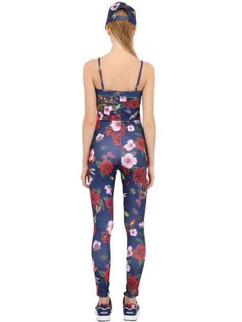 adidas floral jumpsuit adidas originals floral print jumpsuit in blue lyst