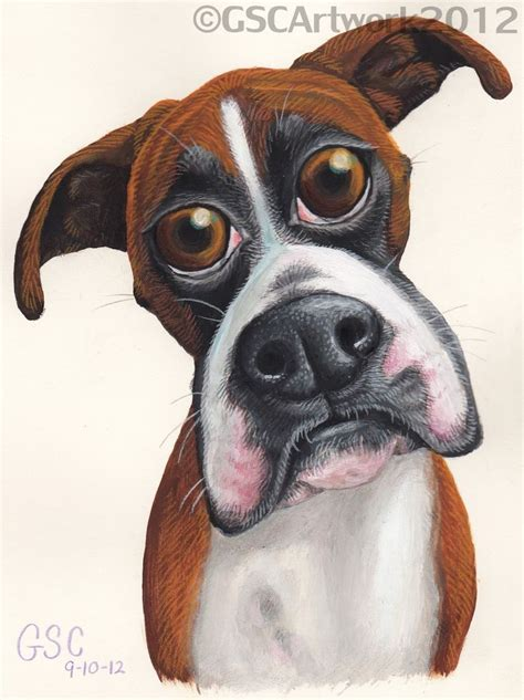 bambi boxer dog cartoon painting drawing dogs