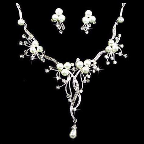 Bridal Wedding Jewelry Set Crystal Rhinestone Pearl Floral