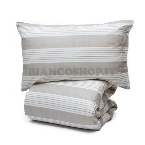 parure copripiumino  cotone righine beige copripiumini biancheria casa