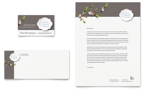 wedding planner business card letterhead template word