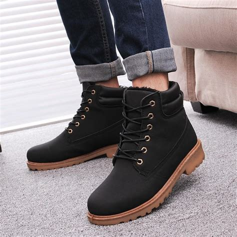 leather man boots fashion winter men ankle snow