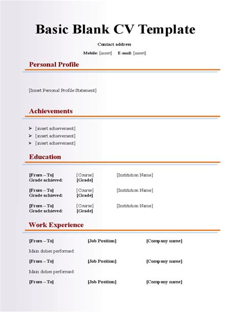 Basic Cv Exles by Cv Template Resumes Templates Resume Template Free Cv