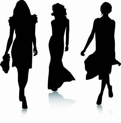 Silhouette Clip Clipart Runway Vector Models Silhouettes