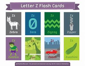 printable letter z flash cards With 2 letter words flash cards