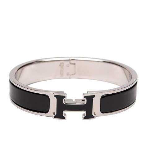 hermes h clic clac bangle hermes clic clac h black black narrow enamel bracelet pm at 1stdibs