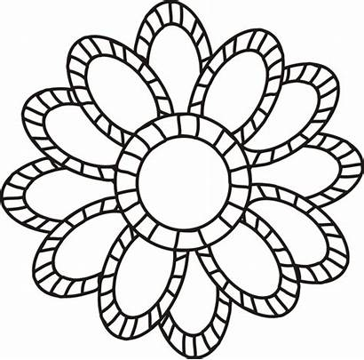 Coloring Flowers Flower Pages Clipart Adult Printable