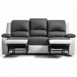 Dimension Canapé 3 Places : relax canap de relaxation droit 3 places simili gris et ~ Voncanada.com Idées de Décoration