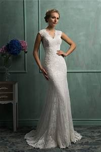 Classy mermaid v neck cap sleeve vintage lace wedding for V neck wedding dress with sleeves