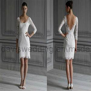 wedding trend ideas lace short wedding dress With short long sleeve wedding dress