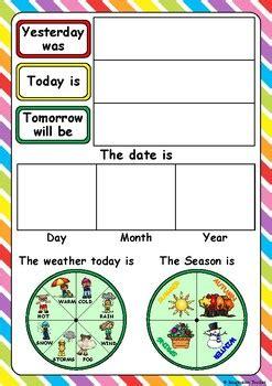 days   week  weather chart  imaginative teacher