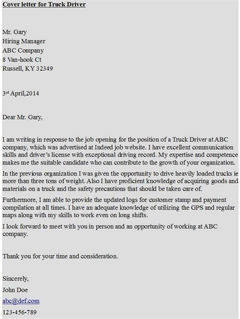 cover letter for truck driver truck driver cover letter