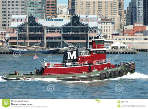 Tugboat Red by Red Tugboat Passes South Street Seaport New York