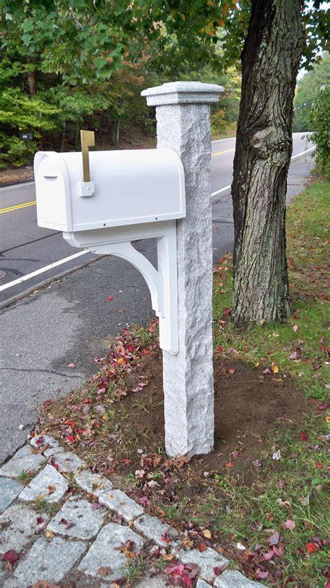 nh grey granite mailbox post cap rock  sides finish