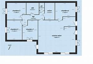 plan maison plain pied 4 chambres double garage plan With plan de maison plain pied 4 chambres avec garage double