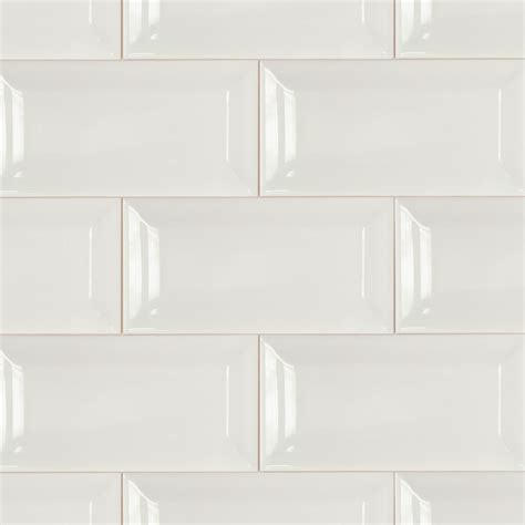 White Ceramic Tile by Basic 3x6 Beveled White Ceramic Tile