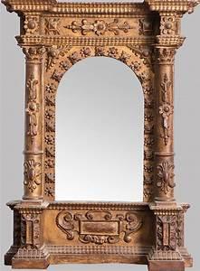 Miroir Cadre Bois : miroir dans un cadre en bois dor et sculpt avec colonnes e ~ Teatrodelosmanantiales.com Idées de Décoration