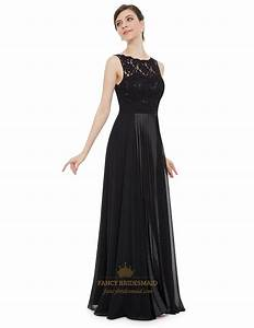 elegant black lace illusion neckline chiffon long With elegant black wedding dresses