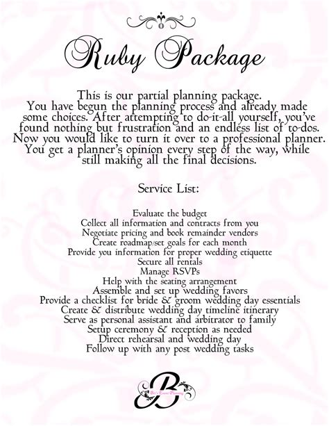 bris event planning  wedding packages