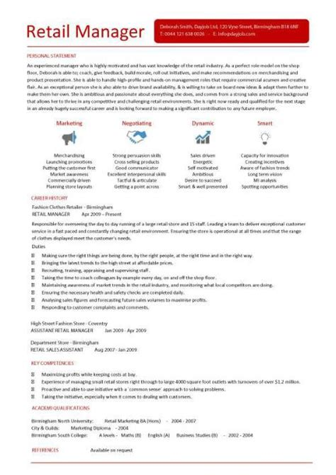 Retail Manager Responsibilities For Resume by Retail Manager Cv Template Resume Exles Description