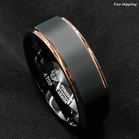 tungsten carbide ring gold black brushed wedding band