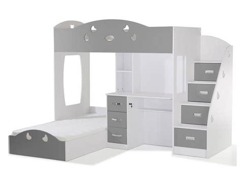 lit superposé avec lit superposé avec rangements et bureau 90x190cm combal